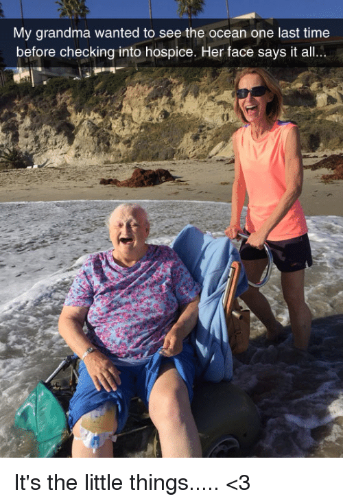Grandma, Memes, and Ocean: My grandma wanted to see the ocean one last time  before checking into hospice. Her face says it all... It's the little things..... <3