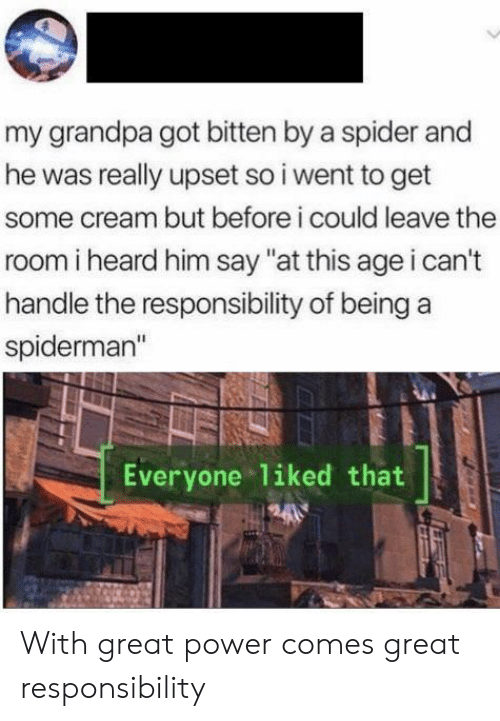 """Spider, Grandpa, and Power: my grandpa got bitten by a spider and  he was really upset so i went to get  some cream but before i could leave the  room i heard him say """"at this age i can't  handle the responsibility of being  spiderman""""  Everyone liked that With great power comes great responsibility"""
