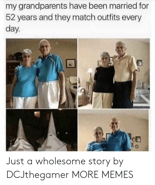 Dank, Memes, and Target: my grandparents have been married for  52 years and they match outfits every  day. Just a wholesome story by DCJthegamer MORE MEMES