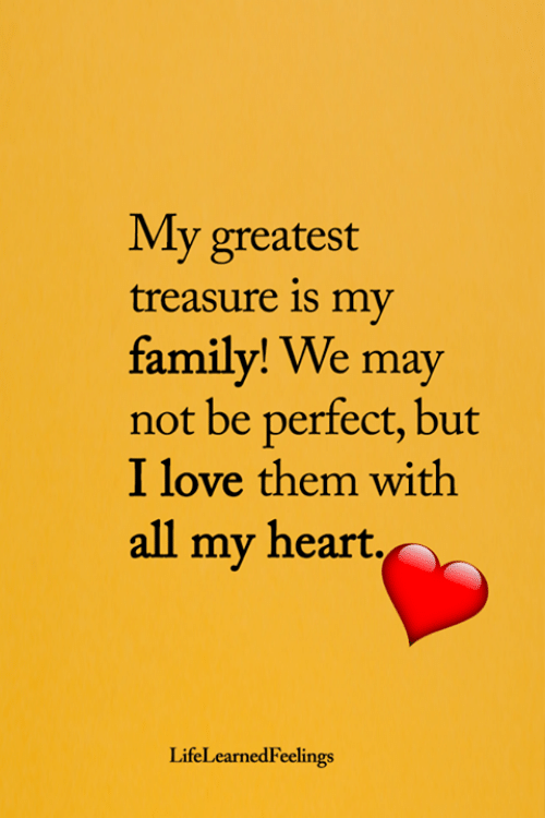 Family, Love, and Memes: My greatest  treasure is my  family! We may  not be perfect, but  I love them with  all my heart.  LifeLearnedFeelings