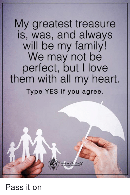 Family, Love, and Memes: My greatest treasure  is, was, and always  will be my family!  We may not be  perfect, but love  them with all my heart  Type YES if you agree. Pass it on