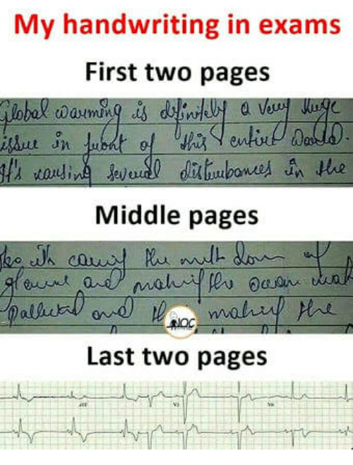 handwriting: My handwriting in exams  First two pages  0  Middle pages  Last two pages