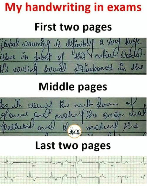 Pages, First, and Handwriting: My handwriting in exams  First two pages  Middle pages  Last two pages  V3