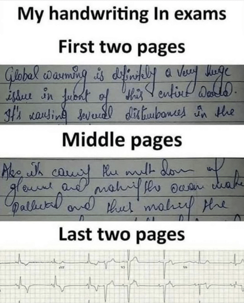 handwriting: My handwriting In exams  First two pages  th rauin Javedl dibone n he  Middle pages  Last two pages