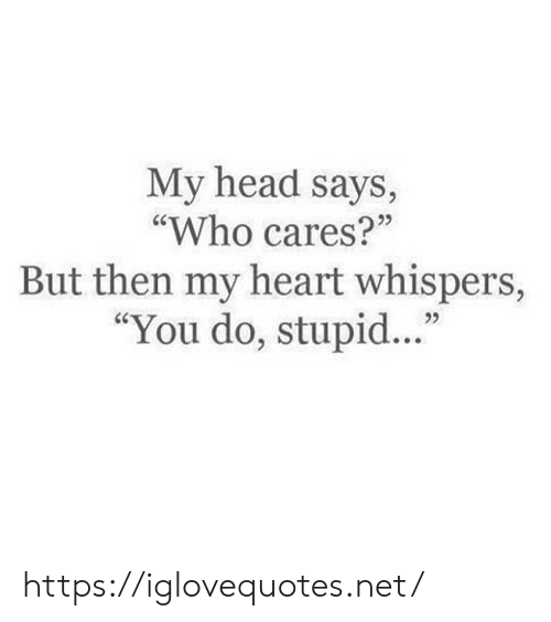 """Head, Heart, and Net: My head says,  """"Who cares?""""  25  But then my heart whispers,  """"You do, stupid..."""" https://iglovequotes.net/"""