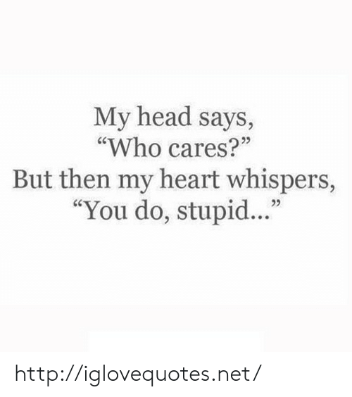 """Head, Heart, and Http: My head says,  """"Who cares?""""  But then my heart whispers,  """"You do, stupid...""""  25 http://iglovequotes.net/"""