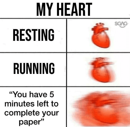 "5 minutes: MY HEART  SGAG  RESTING  RUNNING  ""You have 5  minutes left to  complete your  раper"""