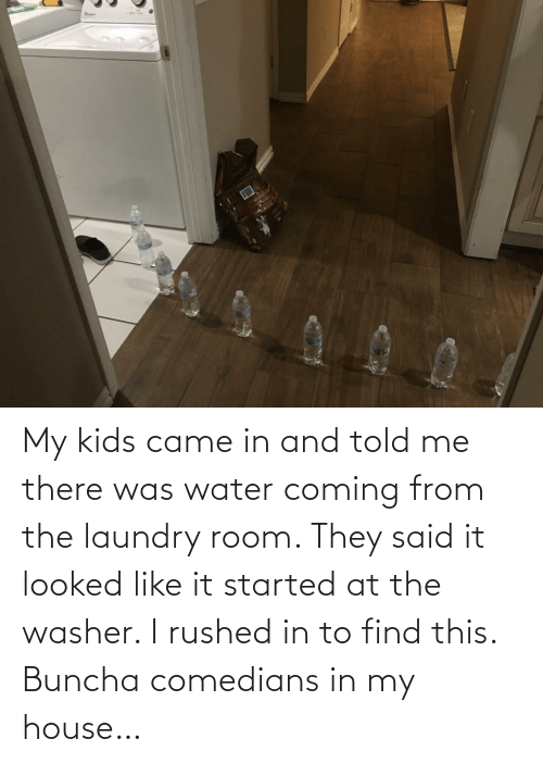 My House: My kids came in and told me there was water coming from the laundry room. They said it looked like it started at the washer. I rushed in to find this. Buncha comedians in my house…