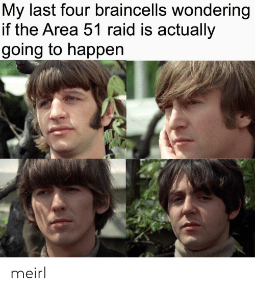 MeIRL, Area 51, and Raid: My last four braincells wondering  if the Area 51 raid is actually  going to happen meirl