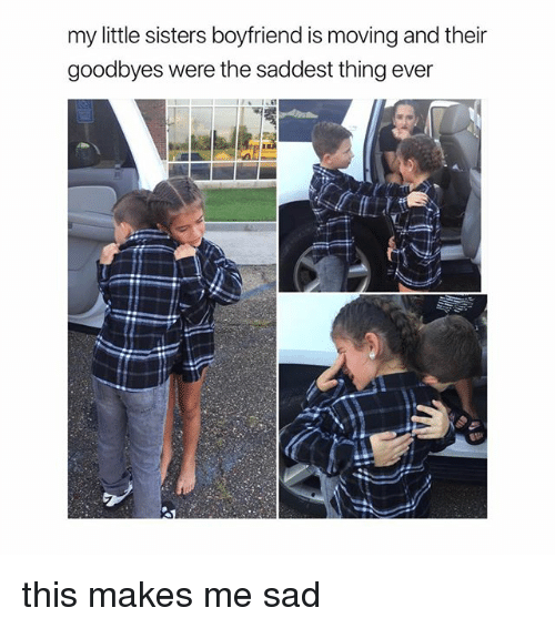 Girl Memes, Boyfriend, and Sad: my little sisters boyfriend is moving and their  goodbyes were the saddest thing ever this makes me sad