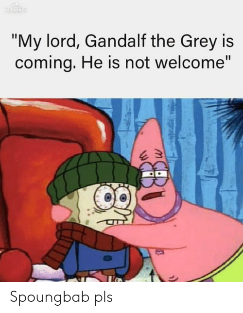 "My Lord: ""My lord, Gandalf the Grey is  comina, He is not welcome"" Spoungbab pls"