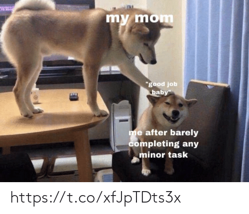 """Minor: my mom  """"good job  baby""""  me after barely  completing any  minor task https://t.co/xfJpTDts3x"""