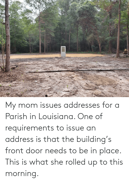 she: My mom issues addresses for a Parish in Louisiana. One of requirements to issue an address is that the building's front door needs to be in place. This is what she rolled up to this morning.