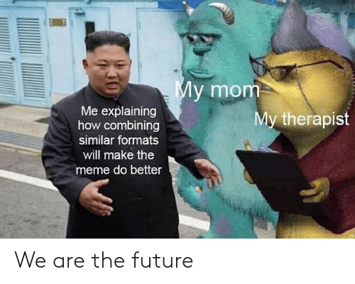 Future, Meme, and Dank Memes: My mom  Me explaining  how combining  My therapist  similar formats  will make the  meme do better We are the future