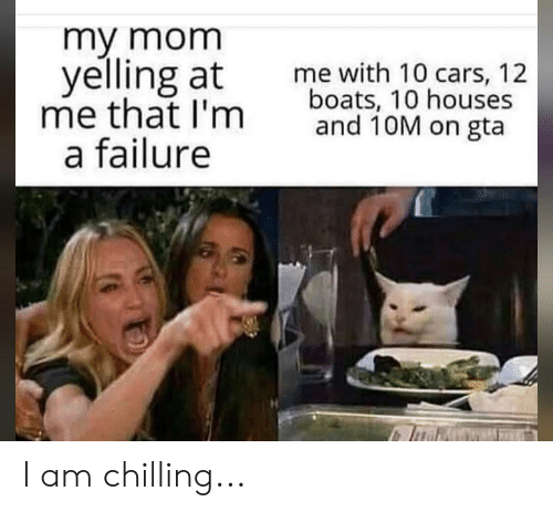 Cars, Reddit, and Failure: my mom  yelling at  me that I'm  a failure  me with 10 cars, 12  boats, 10 houses  and 10M on gta I am chilling...
