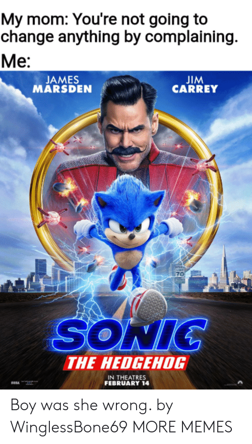 pee: My mom: You're not going to  change anything by complaining  Ме:  JIM  CARREY  JAMES  MARSDEN  PEE  70  SONIC  THE HEDGEHOG  IN THEATRES  FEBRUARY 14 Boy was she wrong. by WinglessBone69 MORE MEMES