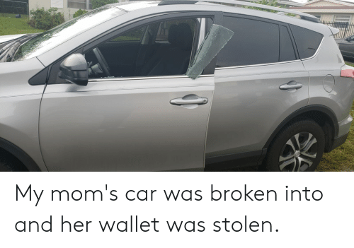 Moms, Her, and Car: My mom's car was broken into and her wallet was stolen.