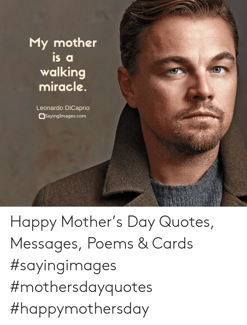 Leonardo DiCaprio, Happy, and Poems: My mother  IS a  walking  miracle.  Leonardo DiCaprio  Sayinglmages.comm Happy Mother's Day Quotes, Messages, Poems & Cards #sayingimages #mothersdayquotes #happymothersday