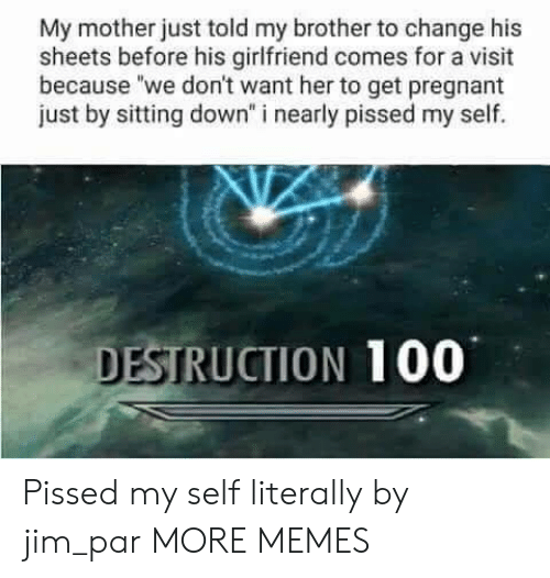 """sitting down: My mother just told my brother to change his  sheets before his girlfriend comes for a visit  because """"we don't want her to get pregnant  just by sitting down"""" i nearly pissed my self.  DESTRUCTION 100 Pissed my self literally  by jim_par MORE MEMES"""