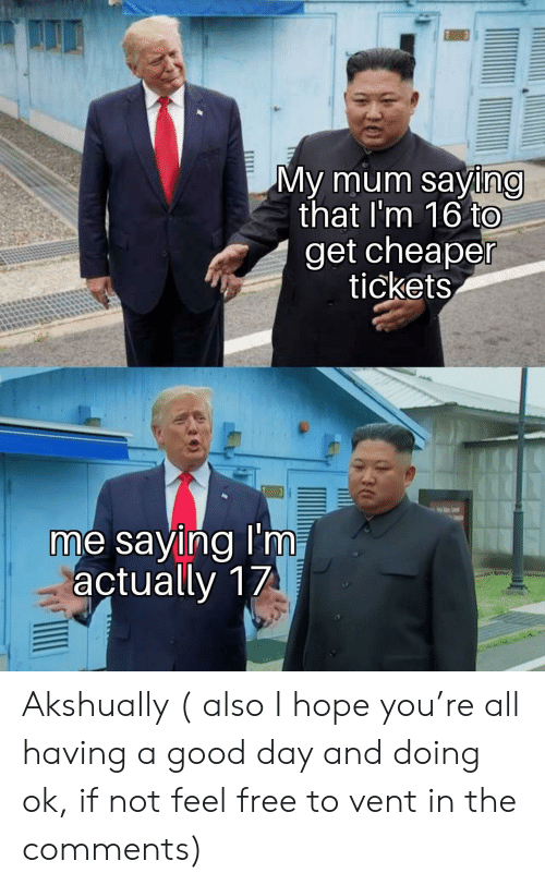 Free, Good, and Hope: My mum saying  that I'm 16 to  get cheaper  tickets  me saying I'm,  actually 17 Akshually ( also I hope you're all having a good day and doing ok, if not feel free to vent in the comments)