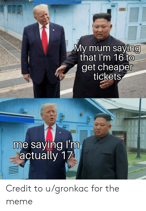 Meme, For, and Get: My mum saying  that I'm 16 to  get cheaper  tickets  me saying I'm  actually 17 Credit to u/gronkac for the meme