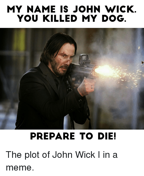 Funny, John Wick, and Wicked: MY NAME IS JOHN WICK  YOU KILLED MY DOG  PREPARE TO DIE! The plot of John Wick I in a meme.