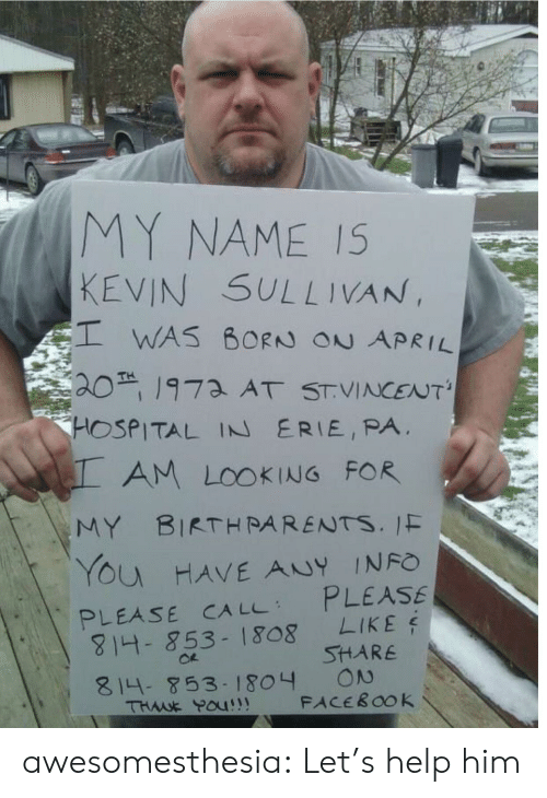 Facebook, Tumblr, and Blog: MY NAME IS  KEVIN SULLIVAN,  WAS BORN ON APRIL  201973 AT STVINCENT'  HOSPITAL IN ERIE, PA  AM LOOKING FOR  MY BIRTHRARENTS. IF  YOu HAVE ANY INFO  PLEASE  LIKE  PLEASE CA LL  814- 853-1808  SHARE  ON  FACEBOOK  814-853- 1804  THWE POU!! awesomesthesia:  Let's help him
