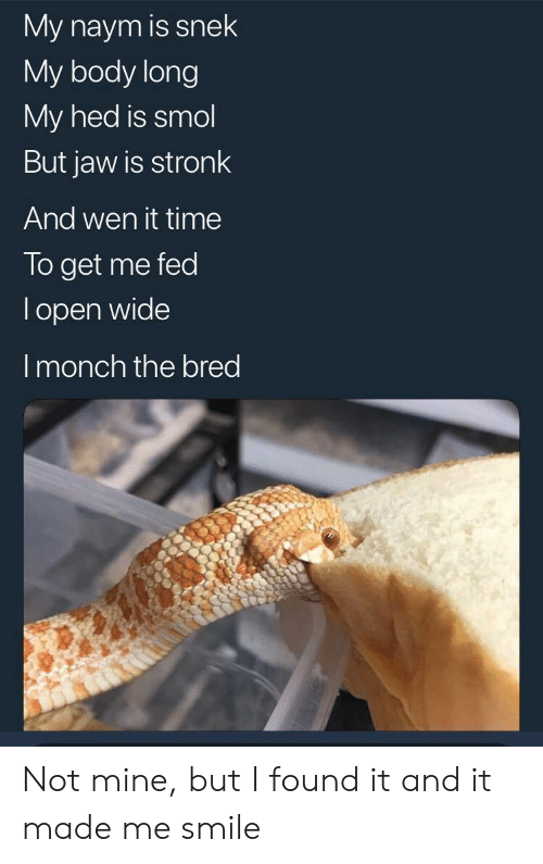 Smile, Time, and Mine: My naym is snek  My body long  My hed is smol  But jaw is stronk  And wen it time  To get me fed  l open wide  I monch the bred Not mine, but I found it and it made me smile