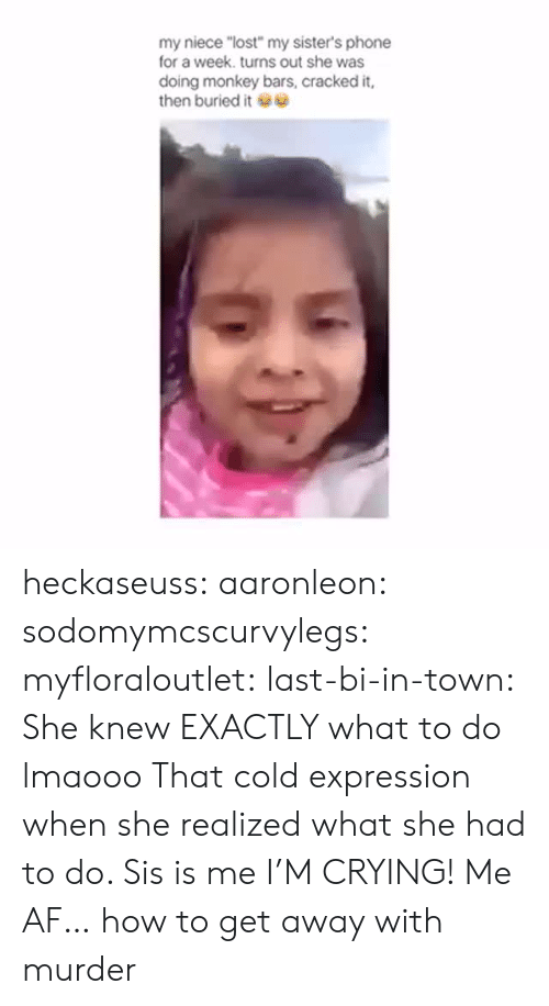"""Af, Crying, and Phone: my niece """"lost"""" my sister's phone  for a week. turns out she was  doing monkey bars, cracked it,  then buried it heckaseuss:  aaronleon:  sodomymcscurvylegs:  myfloraloutlet:  last-bi-in-town:  She knew EXACTLY what to do lmaooo  That cold expression when she realized what she had to do. Sis is me  I'M CRYING!  Me AF…  how to get away with murder"""