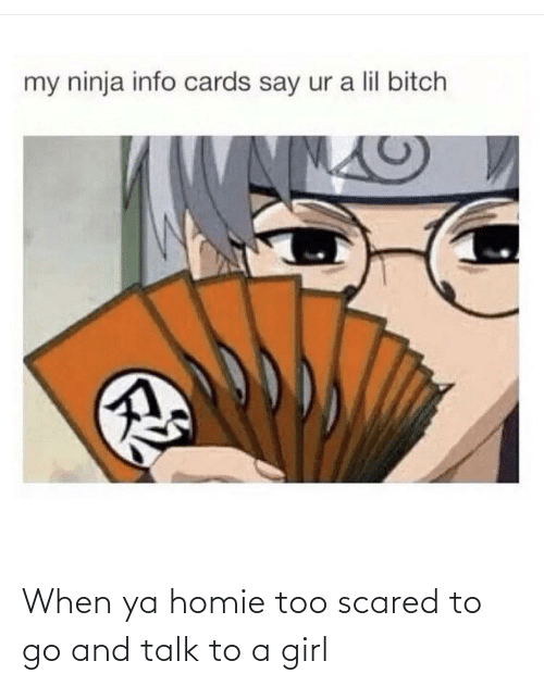 lil bitch: my ninja info cards say ur a lil bitch When ya homie too scared to go and talk to a girl