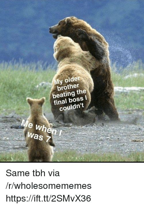 Final boss: My older  brother  beating the  final boss  couldnt  Me when  was 7 Same tbh via /r/wholesomememes https://ift.tt/2SMvX36