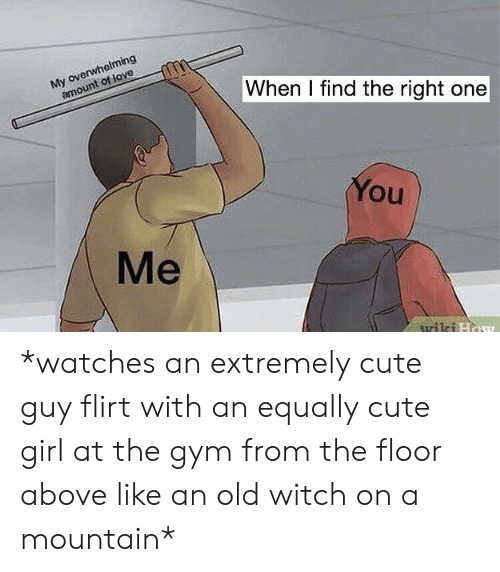 Overwhelming Amount: My overwhelming  amount of love  When I find the right one  You  Me  wiki How *watches an extremely cute guy flirt with an equally cute girl at the gym from the floor above like an old witch on a mountain*