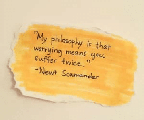 "Philosophy, Means, and Newt: ""My philosophy is thah  worying means you  suffer twice.""  Newt Scamander"