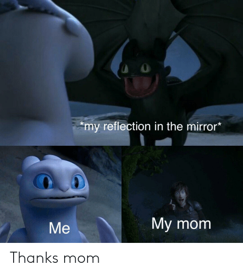Mirror, Mom, and Reflection: my reflection in the mirror*  My mom  Me Thanks mom