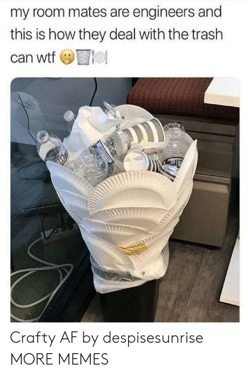 Roomful: my room mates are engineers and  this is how they deal with the trash  can wto Crafty AF by despisesunrise MORE MEMES