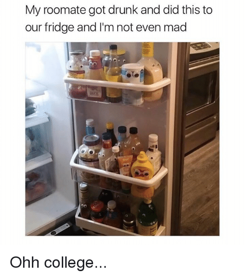 College, Drunk, and Memes: My roomate got drunk and did this to  our fridge and I'm not even mad Ohh college...