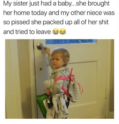 homely: My sister just had a baby...she brought  her home today and my other niece was  so pissed she packed up all of her shit  and tried to leave