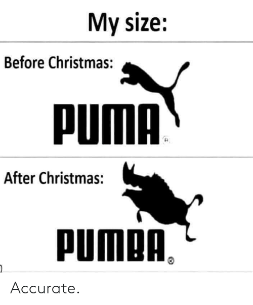 Size: My size:  Before Christmas:  PUMA  After Christmas:  PUMPA, Accurate.