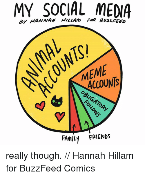 Memes, Buzzfeed, and 🤖: MY SOCIAL FOR MEDIA  ACCOUNTS  FAMILY FRIENDS really though. // Hannah Hillam for BuzzFeed Comics