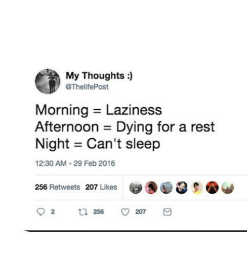 Laziness, Sleep, and Rest: My Thoughts :  @ThelifePost  Morning Laziness  Afternoon - Dying for a rest  Night = Can 't sleep  2:30 AM-29 Feb 2016  256 Retweets 207 Likes  易  92 256 ㅇ207
