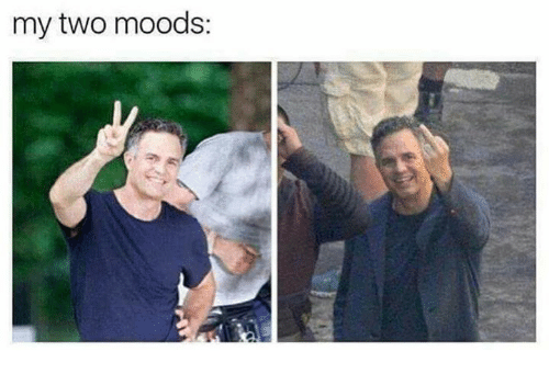 Dank, 🤖, and  Two: my two moods: