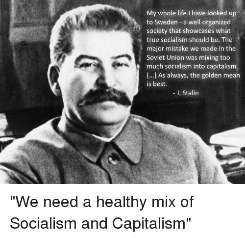 Life, Too Much, and True: My whole life I have looked up  to Sweden a well organized  society that showcases what  true socialism should be. The  major mistake we made in the  Soviet Union was mixing too  much socialism into capitalism  [...] As always, the golden mean  is best.  -J. Stalin