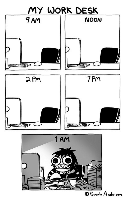 Work, Desk, and 2pm: MY WORk DESK  9 AM  NoON  7PM  2PM  1 AM  OSauah Andersen