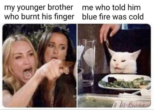 Fire, Memes, and Blue: my younger brother  who burnt his finger  me who told him  blue fire was cold