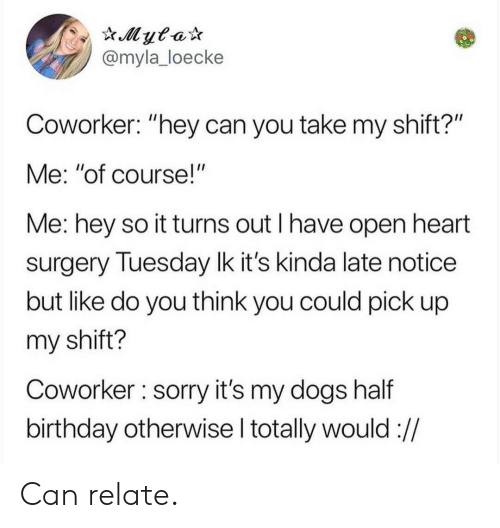 "Birthday, Dogs, and Sorry: @myla_loecke  Coworker: ""hey can you take my shift?'""  Me: ""of course!""  Me: hey so it turns out I have open heart  surgery Tuesday lk it's kinda late notice  but like do you think you could pick up  my shift?  Coworker sorry it's my dogs half  birthday otherwise l totally would :// Can relate."