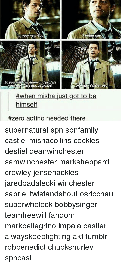 Bow Down: 'myour new God  A better one  So you wil bow down and profess  So you will bow down and profess  your love unto me your lord.  oroshall destroy you  #when misha just got to be  himself  #zero acting needed there supernatural spn spnfamily castiel mishacollins cockles destiel deanwinchester samwinchester marksheppard crowley jensenackles jaredpadalecki winchester sabriel twistandshout osricchau superwholock bobbysinger teamfreewill fandom markpellegrino impala casifer alwayskeepfighting akf tumblr robbenedict chuckshurley spncast