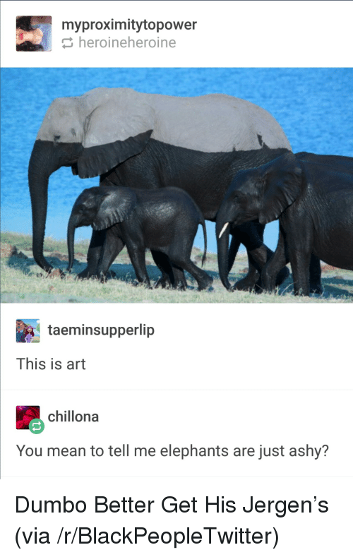 You Mean To Tell Me: myproximitytopower  heroineheroine  taeminsupperlip  This is art  chillona  You mean to tell me elephants are just ashy? <p>Dumbo Better Get His Jergen&rsquo;s (via /r/BlackPeopleTwitter)</p>
