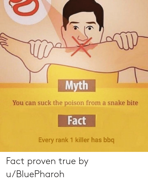 True, Snake, and Poison: Myth  You can suck the poison from a snake bite  Fact  Every rank 1 killer has bbq Fact proven true by u/BluePharoh