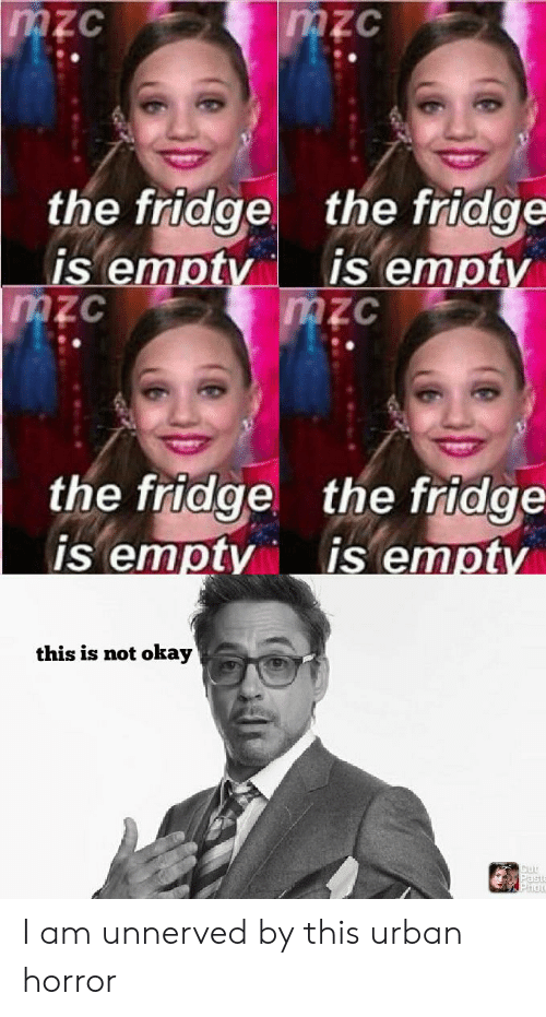 This Is Not Okay: mzc  mzc  the fridge  is empty  mzc  the fridge  is empty  mzc  the fridge the fridge  is emptv  is empty  this is not okay  Past  hot I am unnerved by this urban horror