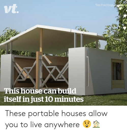 portable: n Fold E  ivt  This house can build  itself in just 10 minutes These portable houses allow you to live anywhere 😲🏠
